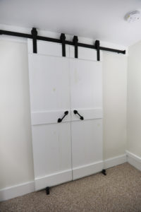 Sliding barn doors in our Ludlow, Vermont vacation rental, North House Lodge
