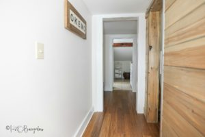 Modern sliding barn door in our vacation rental home in ludlow VT