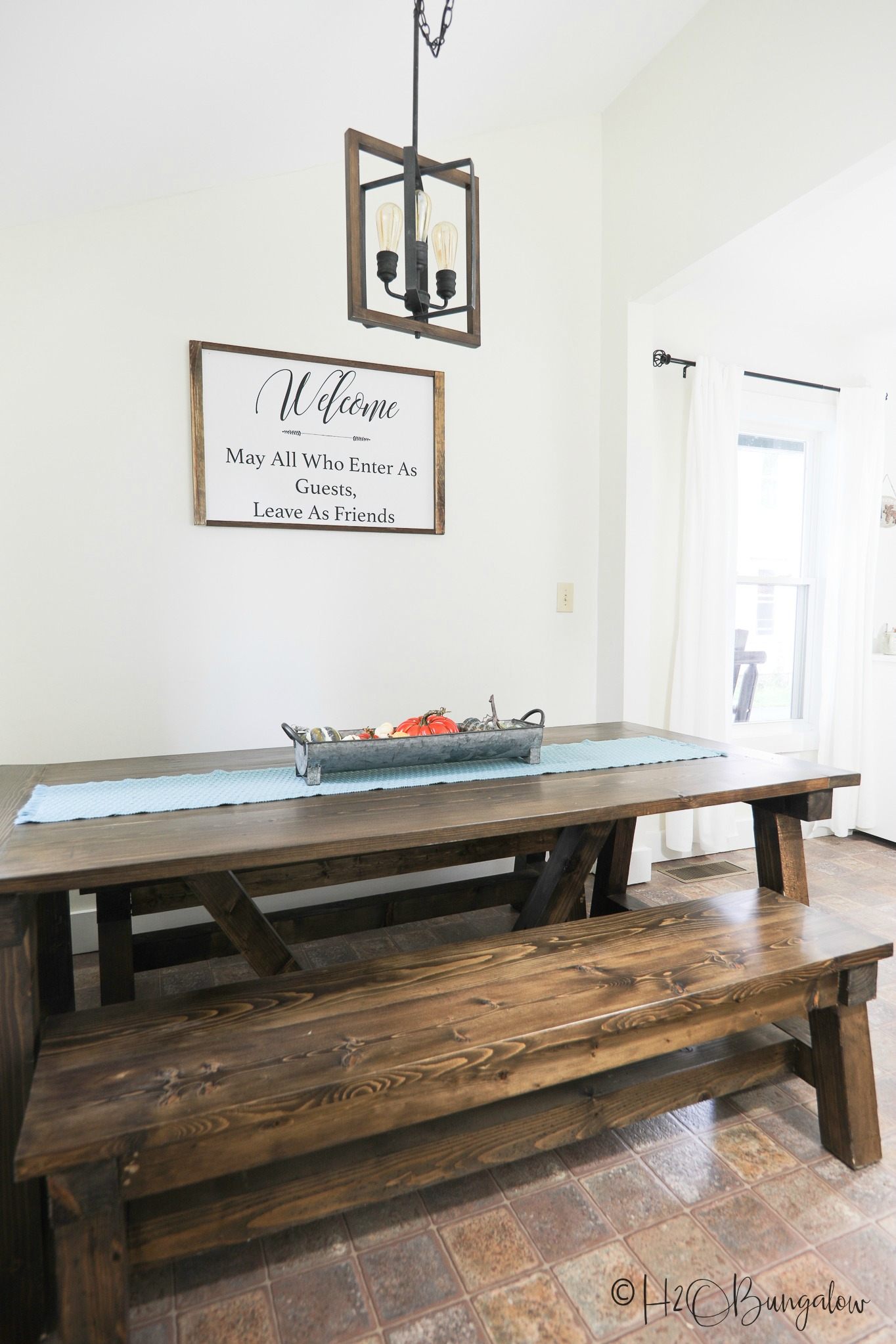 Large table in the kitchen of our upscale vacation rental in Ludlow, VT